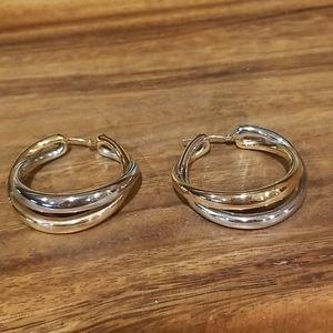 14K Solid White/Rose Gold Twist Hoop Earrings